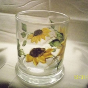 Painted Sunflowers on a Glass Votive holder