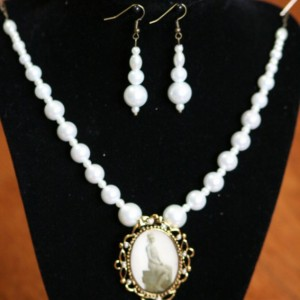 White Pearl, cameo style, Necklace and Earring Set OOAK
