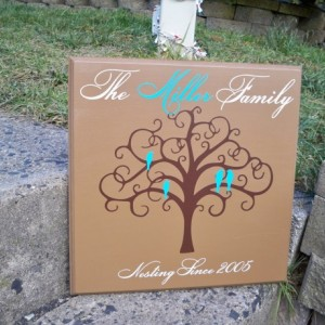Personalized Family Tree Sign with Birds