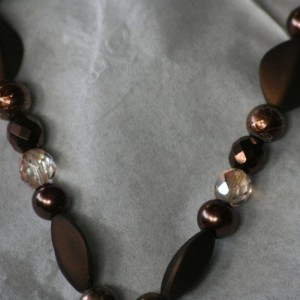 Cocoa colored beads and chocolate crystals, with cocoa glass pearls, Cameo Necklace and earring set.  OOAK