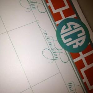 Square patterned, personalized desk calendar