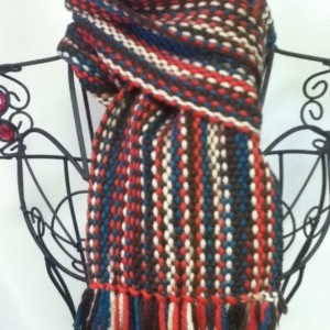 orange, brown & blues:  handwoven chunky wool scarf