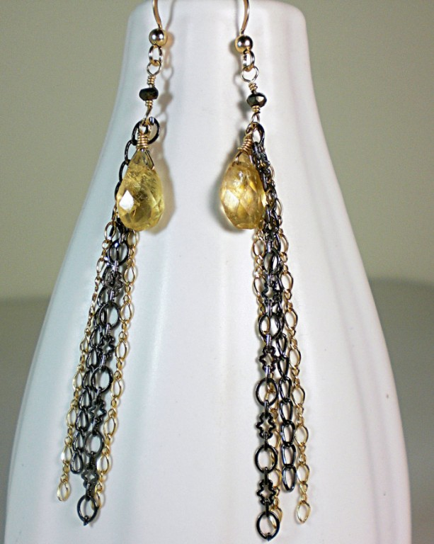 Gunmetal and Gold Chain Earrings with Citrine long linear Earrings,linear earrings,citrine earrings, black and gold,long drop earrings,chain