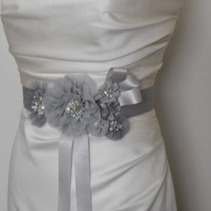 READY TO SHIP, Sale Last One,Best Seller,Flower Sash, Vintage sash, belt, Silver, Grey Sash, Pearls, Rhinestones, Crystals, StyleSB042