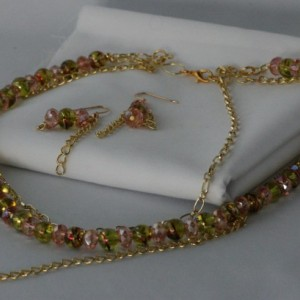 Pink and Green Twist Necklace and Earring set.   OOAK