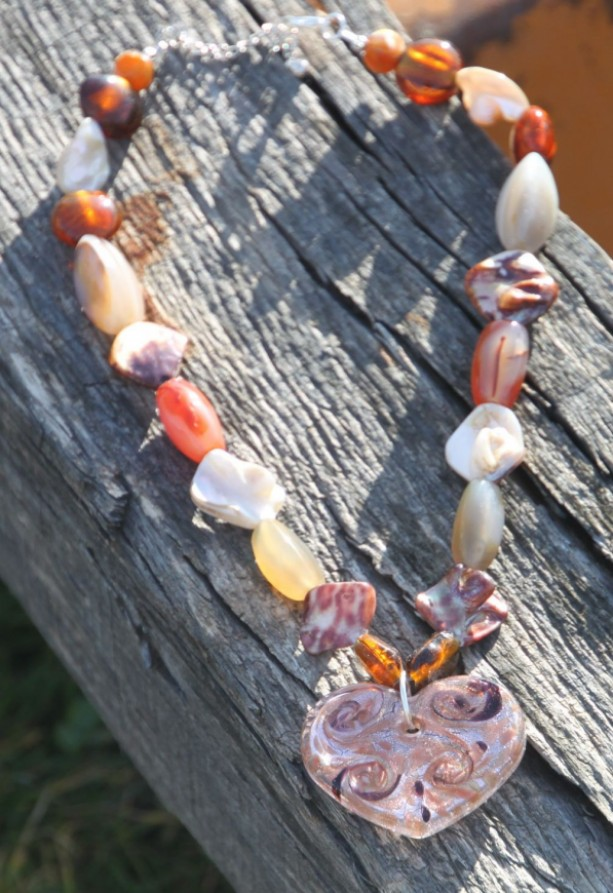 Browns, amber, glass beads & stones Heart of Glass Necklace and Earring set.  OOAK