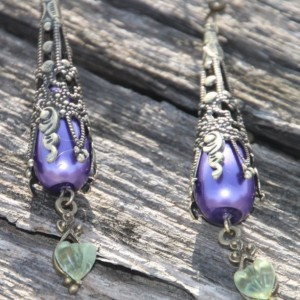 Purple pearl gothic style earrings