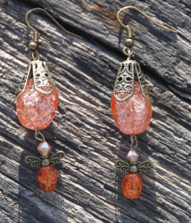 Orange dream Vintage style earrings, OOAK