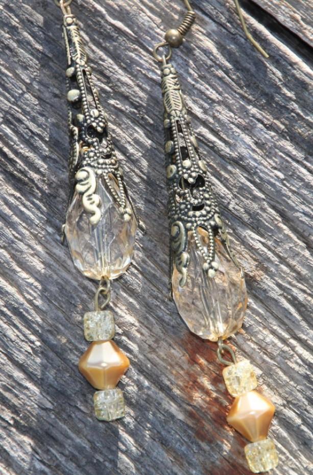Lemon Crystal Vintage Style Filigree Earrings.  OOAk