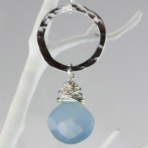 Wonky Wrapped Necklace - Blue Chalcedony