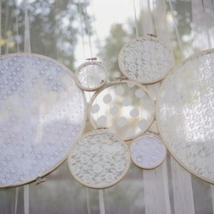 Lace Ring Wedding or Shower Decor -  Set of 6