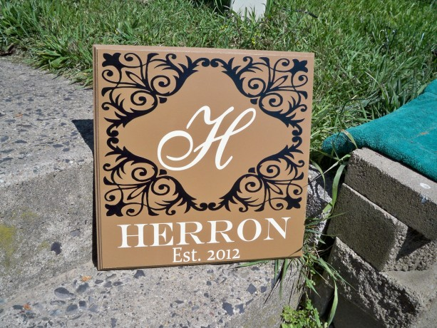 Monogram name sign, personalized family name sign, family name sign, established sign, wedding sign, monogram sign, last name sign