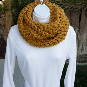 INFINITY LOOP SCARF Mustard, Gold, Dark Yellow Extra Soft Bulky Chunky Wool Acrylic Blend Winter Cowl Loop Snood, Ready to Ship in 3 Days