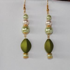 Vintage style dbl strand necklace earring set OOAK