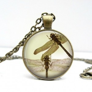 Sepia Dragonflies Necklace