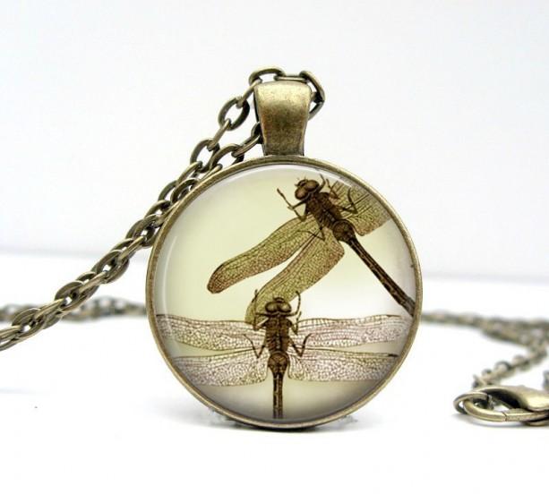 Sepia Dragonflies Necklace