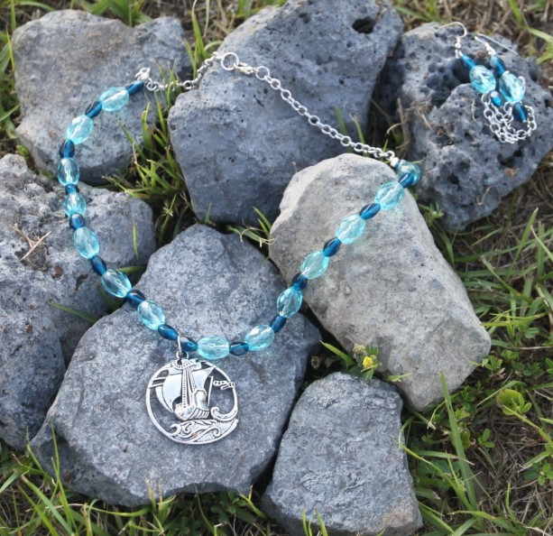 Blue glass beads and silver tone, Sailing the Ocean Blue necklace and earring set.  OOAK