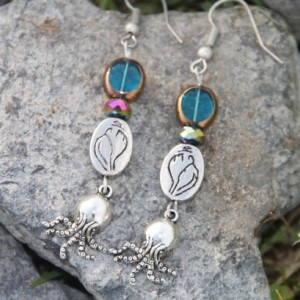 Octopus of the sea Necklace and earring set.  OOAK