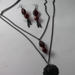 Black & Red medallion necklace and earring set.  OOAK