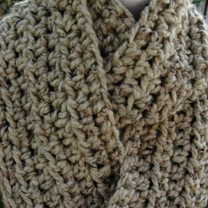 Oatmeal INFINITY LOOP COWL SCARF Natural Beige Tweed, More Colors Available, Thick Soft Wool Blend Crochet Knit Endless Winter, Neck Warmer..Ready to Ship in 2 Days