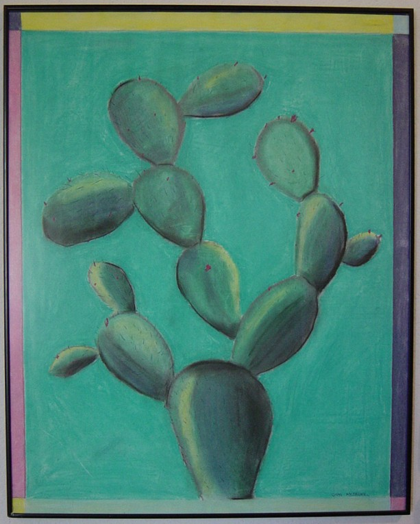 Cactus Pastel Drawing Modern Art  ORIGINAL Framed 22x28 by Anthony Saldivar