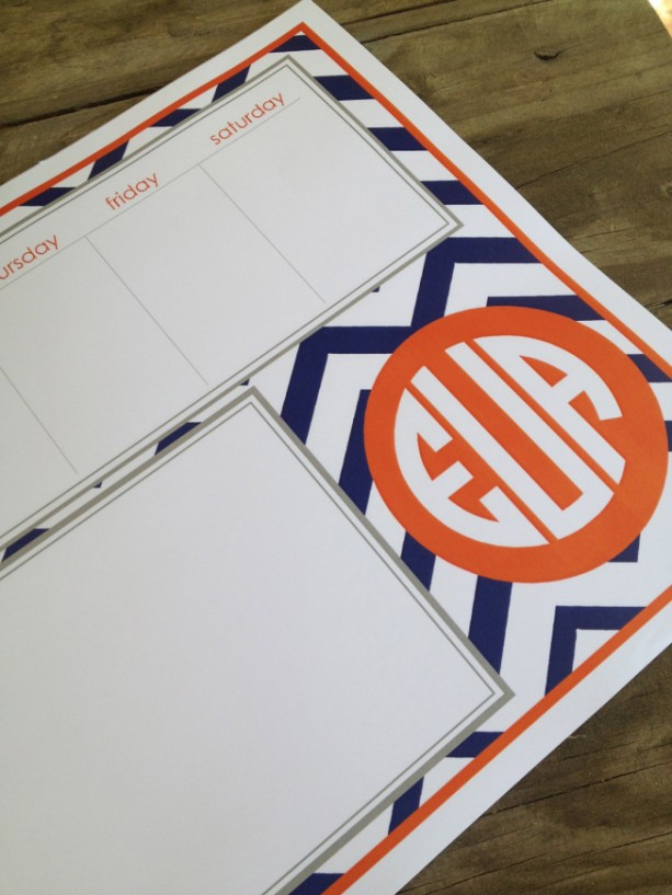 Chevron patterned custom padded weekly planner