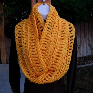 Long INFINITY SCARF Cowl Loop, Solid Orange Yellow Extra Soft Warm Bulky Crochet Knit Winter Eternity Circle 100% Acrylic..Ready to Ship in 3 Days