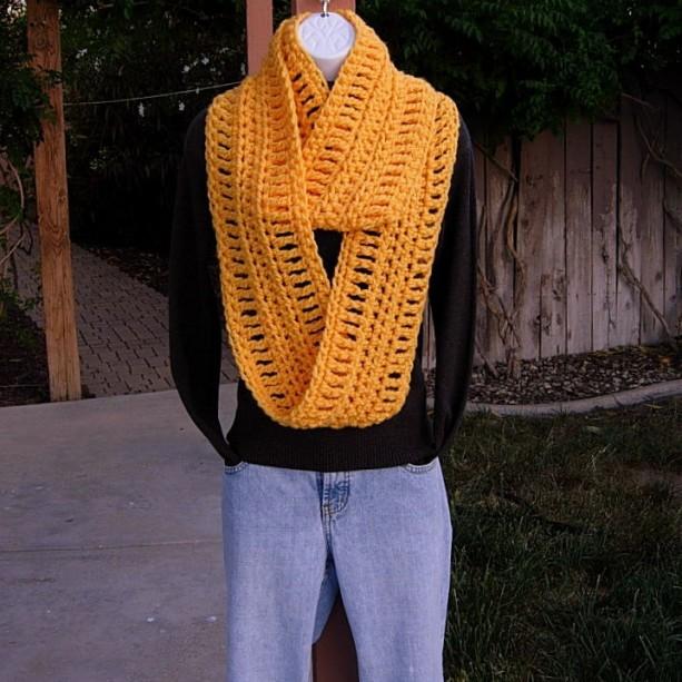 orange yellow soft long crochet infinity loop scarf