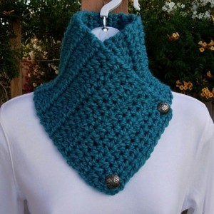 NECK WARMER SCARF Solid Turquoise Teal Blue, Soft Crochet Knit Buttoned Handmade Winter Cowl Lightweight Scarflette..Ready to Ship in 3 Days