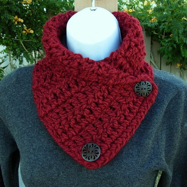 Dark Solid Red Neck Warmer Scarf, Crochet Knit Buttoned Cowl aftcra