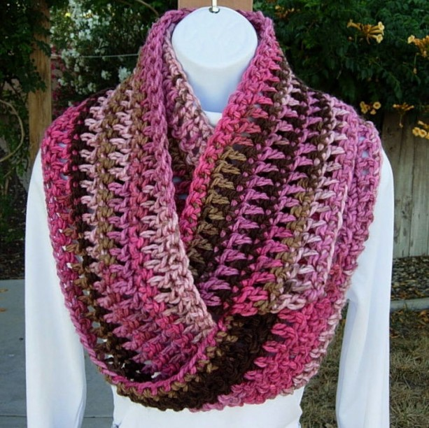 Striped Infinity Scarf Knitting Pattern : Pink and Brown Winter Infinity Scarf, Soft Crochet Knit Cowl aftcra