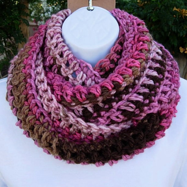 INFINITY SCARF Loop Cowl, Pink, Magenta, Tan, Brown & Off-White Long Winter Scarf, Soft Striped Crochet Knit Winter Wrap, Ready to Ship in 3 Days