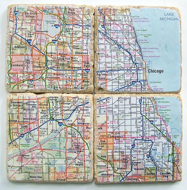 Chicago Map Coasters