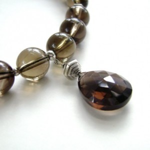 Smoky Quartz Necklace, Sterling Silver, Gemstone Jewelry, Quartz Necklace, Brown, Umber, Chocolate, Coffee, Smoke, Taupe, 357
