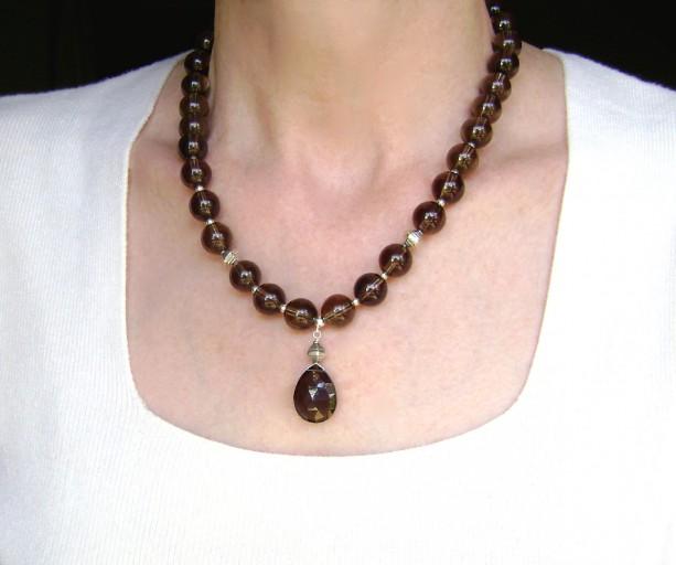 Smoky Quartz Necklace Sterling Silver Gemstone Jewelry Quartz