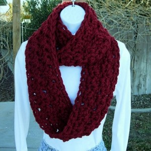 Women's Dark Solid Red INFINITY LOOP SCARF, Extra Thick Soft Bulky Warm Winter Crochet Knit Eternity Circle Cowl, Neck Warmer..Ready to Ship in 3 Days