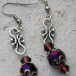 Purple crystal earrings  OOAK