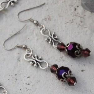 Purple crystal earrings  OOAK