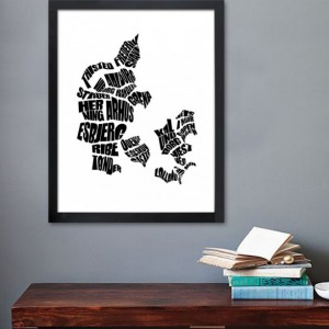 Denmark Word Map - A typographic word map of the Denmark