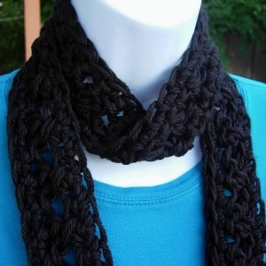 SUMMER SCARF Small Infinity Loop, Solid Black, Super Soft Lightweight Crochet Knit Endless Circle, Neck Tie, Skinny, Cowl..Ready to Ship in 2 days