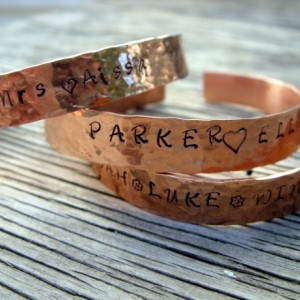Hand stamped cuff bracelet 3/8 inch copper ONE bracelet stamped with your choice of words-symbols