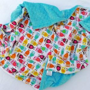 Baby Blanket, Owl Baby Blanket- Pink, Aqua Blue, Orange, Minky Baby Blanket With Aqua Dot Minky for Your Baby Bird