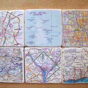 Custom Map Coasters - Set of 6