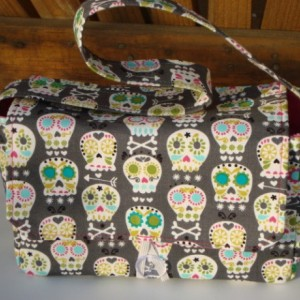 Super Size Coupon Organizer / Budget Organizer Holder Box - Attaches to Your Shopping Cart - Sugar Skull Bonehead on Gray