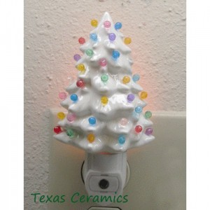 Little White Ceramic Christmas Tree Night Light Automatic Switch Color Light Globes