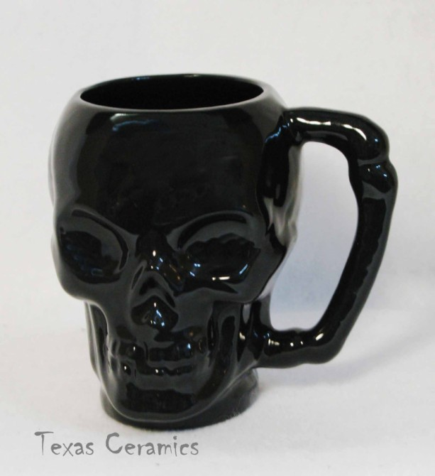 Skull Mug Jointed Bone Style Handle in Solid Black Glaze Ceramic Pottery