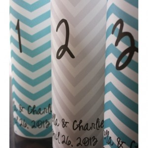 Table Number Luminaries - Chevron Stripe Design