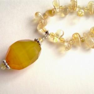Citrine Necklace, Sterling Silver, Yellow Agate Pendant, Gemstone, Teardrop, Yellow, Gold, Quartz, Sunshine, Daffodil, 402