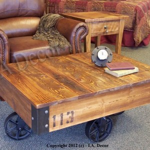"Factory Cart Coffee Table 28"" x 36""  - Coffee table on wheels - Industrial Cart Table"""