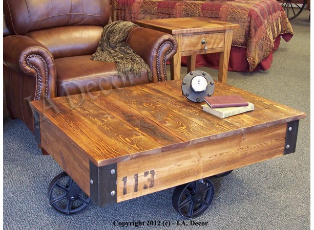Factory Cart Coffee Table 28 X 36 On Wheels
